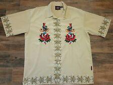 Dragonfly RoadHouse embroidered Hawaiian Rockabilly Shirt Men 2XL Bowling Biker