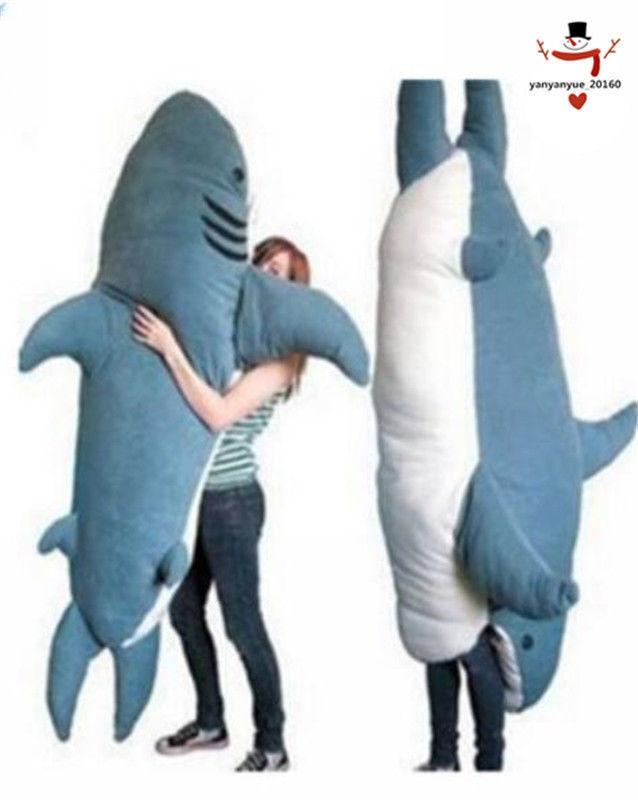 2018 New Big Shark Sleeping Bag Beanbag Sofa Bed Plush Stuffed Soft Pull OVer