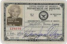 Marilyn Monroe (2) 4X6 Photos 1954 USO ID CARD