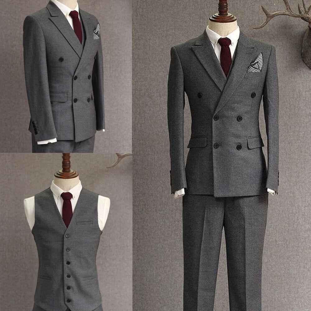 Men's Double Breasted Slim Fit Tuxedo Suit Wedding Suit Dinner Dark Gray Custom