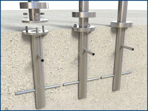 Bodenanker Edelstahl Pfosten Adapter zum einbetonieren im Boden mit Beton