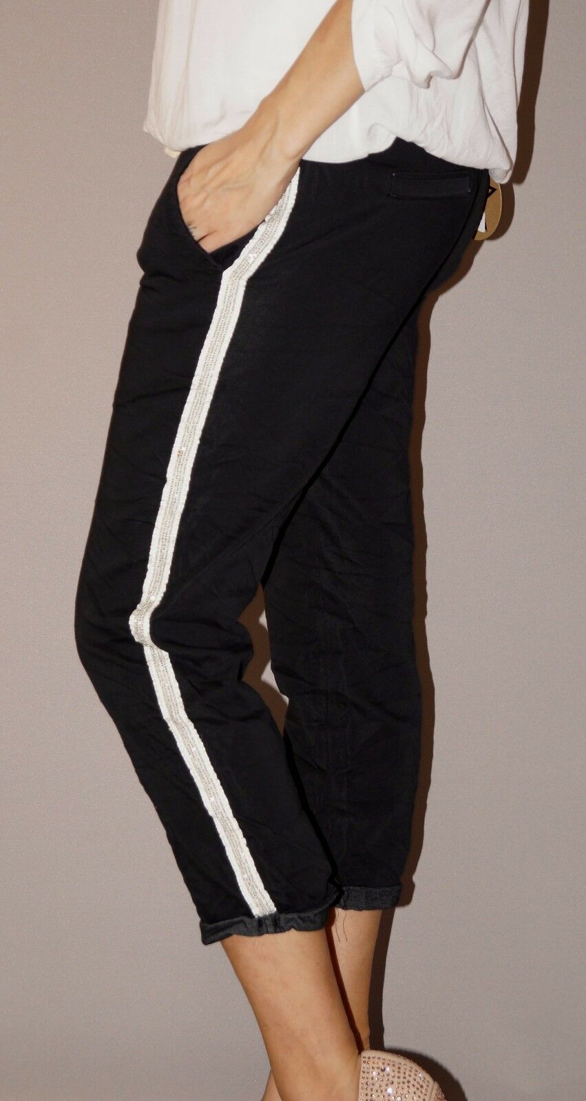 Jogging Jeans Capri Streifen Nieten 7 8 Länge Stretch S 36 Schwarz Must Have