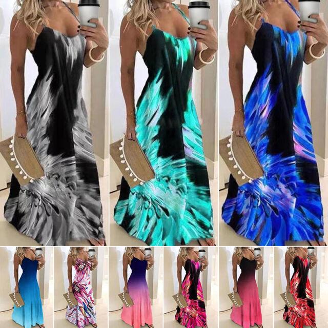8-22 neue Flamme Stil Damen langes Kleid Damen Blumen Farbverlauf Schlupf Maxi Kleid