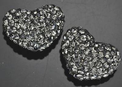 1 x 20mm Strasssteine Kristall Ton Ebnen Herz Perlen für Shamballa Charm Armband