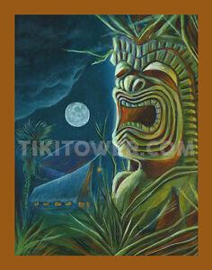 Maori Tiki Bar Art Lowbrow Pop Polynesian Volcano Man Cave Print