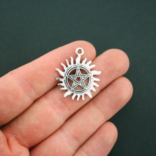 SC5555 BULK 20 Pentacle Charms Antique Silver Tone Pentagram Sun Wicca Charms