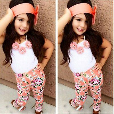 3pcs Kids Baby Girls Summer Outfits Clothes Headband+T-shirt Tops+Long Pants Set