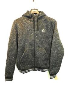 Reebok-M-NWT-Black-Gray-Active-Fleece-Jacket-Sweater-Knit-Full-Zip-Hood-Coat-Md