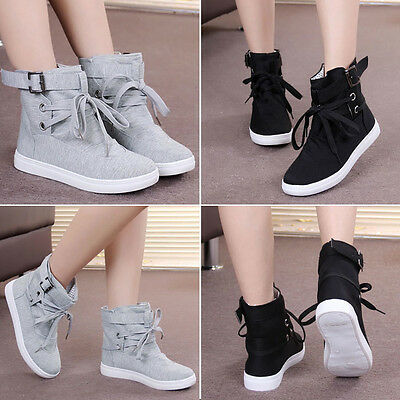 Womens Casual Sneakers Buckle Strap Hiking Flats Lace Up High Top Sports Shoes