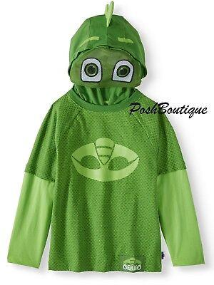 NWT LICENSED PJ Masks Gekko Boy Girl Costume Hoodie Jacket Mask 2T 3T 4T 5T
