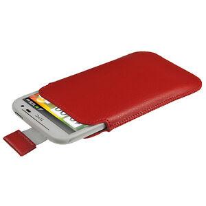 Rot-Leder-Beutel-fuer-HTC-Sensation-XL-Halter-Tasche-Huelle-Case-Smartphone
