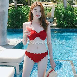 Korean Style Women Sexy Scallop Edge Bikini Set Pushup Bra Set