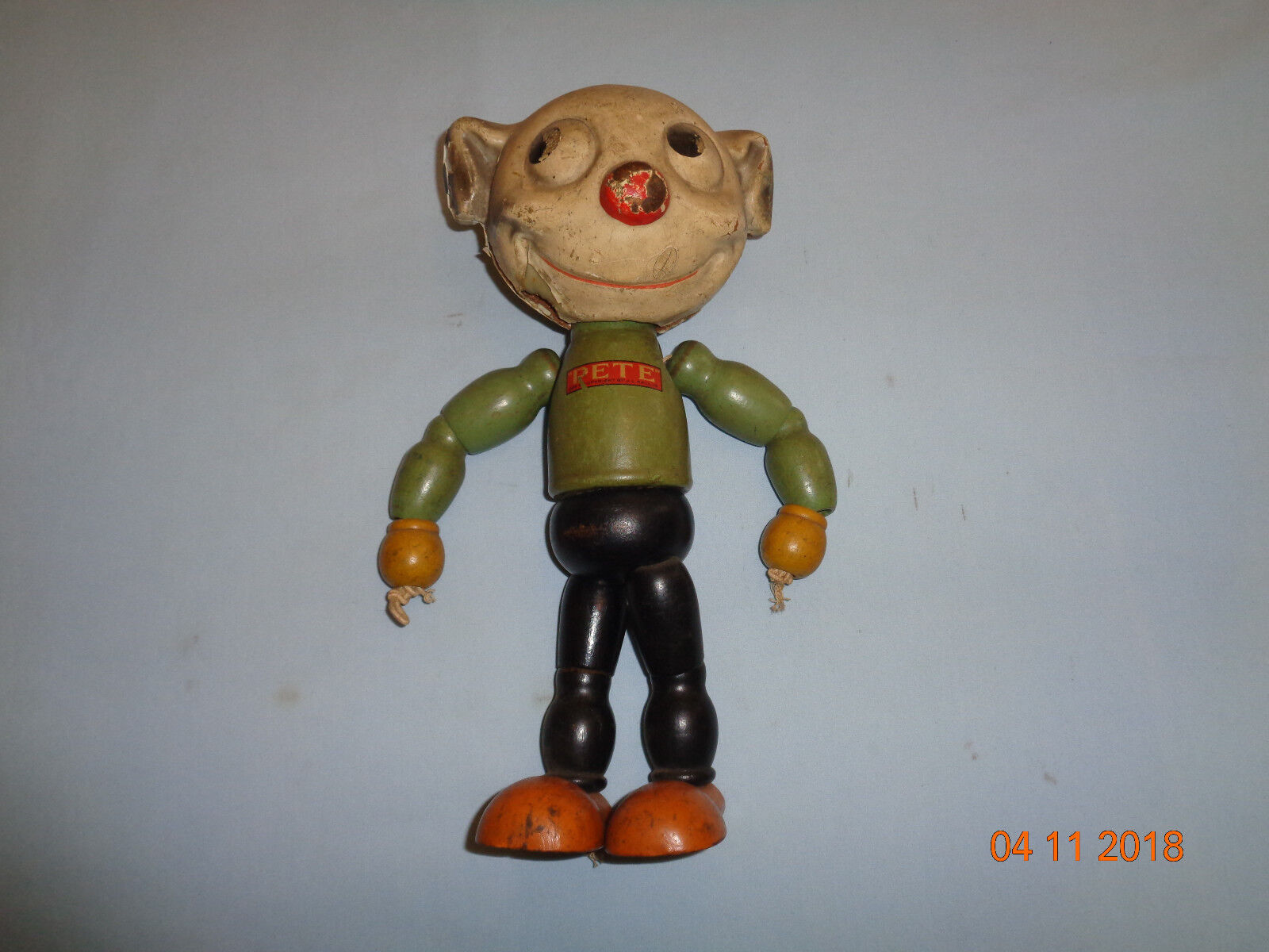 Vintage PETE the Pup Wood, Segmented, Jointed Cartoon Character by J.L Kallus
