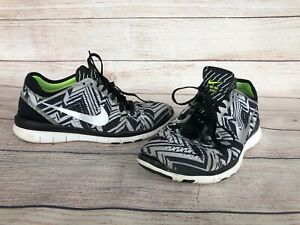 Details about Damenns Size 7.5 Nike Free TR Fit 5.0 Black & White Aztec Running Sneakers schuhe