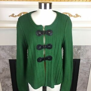 TAHARI-L-Green-Ribbed-Buckle-Snap-Merino-Wool-Blend-Cardigan-Sweater