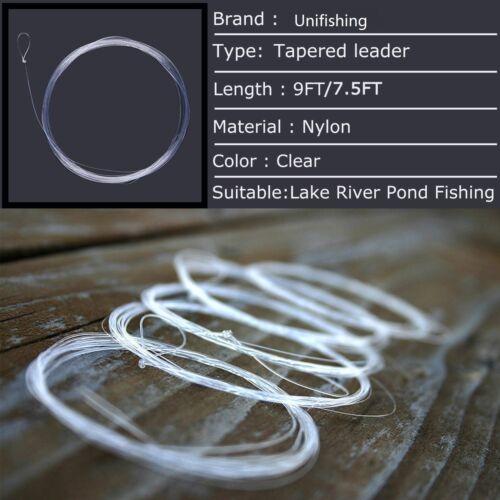 10PCS Fly Fishing Leader 9FT//7.5FT 0//1//2//3//4//5//6//7X Tapered Nylon Leader w// Loop