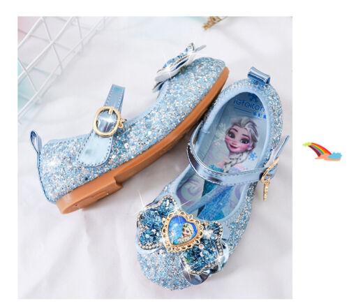 Frozen2 Kids Girls Elsa Princess Fancy Party Acrylic bow-knot Sequins Elsa Shoes