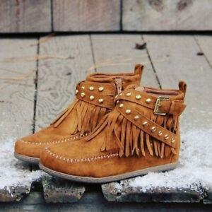 Womens-Flat-Heel-Rivet-Ankle-Boots-Buckle-Strap-Tassel-Suede-Shoes-Retro-Booties