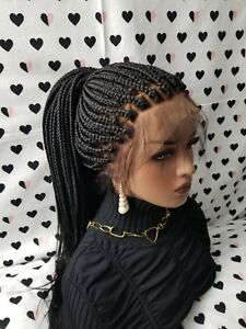 Fully Hand Braided 360 Lace Frontal Ponytail Box Braids Braid Wig