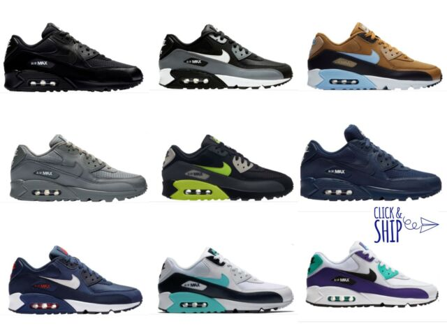 Details about Nike Air Max 90 essential mens sneakers 9 gray blue low top 537384 running