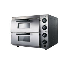 110v Commercial Double Electric Pizza Oven Pizza Bread Making Machines 3kw