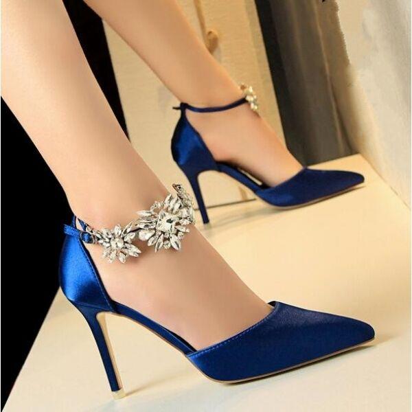 decolte sandali stiletto 9.5 pelle eleganti blu cinturino gioiello simil pelle 9.5 CW715 2a4e77