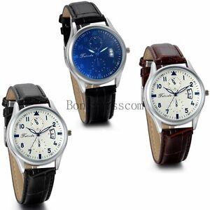 Classic-Dress-Date-Calendar-Leather-Strap-Band-Men-039-s-Quartz-Analog-Wrist-Watch