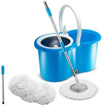 Spin MOP Bucket System Self Wringing All in 1 Stainless Steel 3 Microfiber Heads