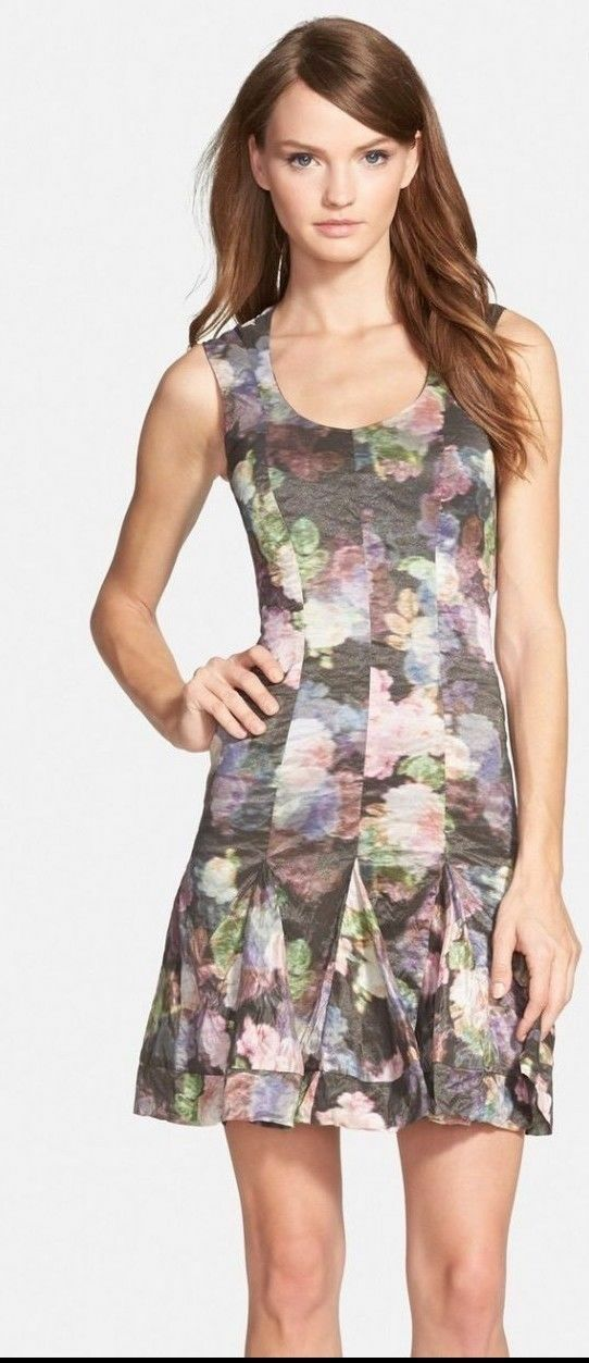 NEW  Nicole Miller Sleeveless Fit-and-Flare Floral-Print Dress [SZ 8]  M482