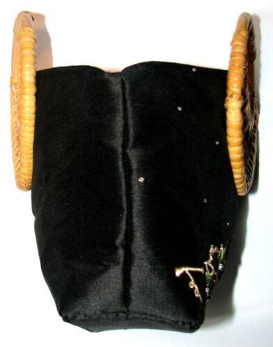 la doublé motif manche canne pur forme entièrement de en en noir brodé à à fabriqué soie feuille main Sac Yx1UqwCAA