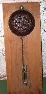 Antique-1874-Victorian-Bronze-Hand-Pull-Chain-Door-Bell-Mechanism-Wall-Section