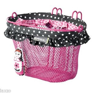 Basil-BABOUSHKA-rose-ovale-Crochet-Panier-avant-pour-velos-bagage