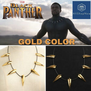 2f6ec55b9a9ae Marvel Black Panther Gold Necklace Wakanda King T'Challa Cosplay ...