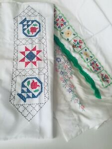 Vintage-embroidered-pillow-cases-set-of-3-cross-stitch-embroidery-hand-made
