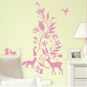 Image is loading PINK-FOREST-FRIENDS-wall-stickers-MURAL-6-decals-  sc 1 st  eBay & PINK FOREST FRIENDS wall stickers MURAL 6 decals babyu0027s nursery ...
