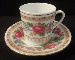 Made-in-China-Marked-Tea-Cup-amp-Saucer-Pink-Purple-Blue-Yellow-Flowers-Gold-Trim