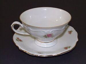 Vintage-Oscar-Schaller-amp-Co-Tea-Cup-amp-Saucer-Winterling-Rosebud-Pattern
