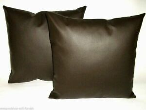2-Brown-Faux-Leather-Classic-Cushion-Covers-16-034-18-034-20-034-Scatter-Pillows