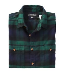 J-Crew-Mercantile-Mens-L-Slim-Fit-Navy-Green-Black-Watch-Plaid-Flannel-Shirt