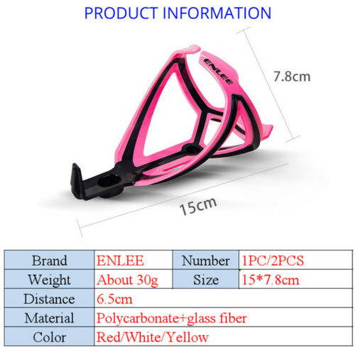 ENLEE MTB Bike Drink Water Bottle Cage Holder Plastic Glass Fiber Double Colors