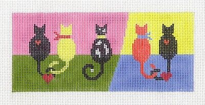 "LEE 5 colorful Cats handpainted Needlepoint Canvas ~ BB Insert ~ 2.75"" x 6"""