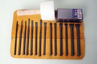 Masonry Mallet Head Full Chisel Set, Hammer & Free Tool Roll/Sharpening Block