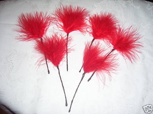 6 red marabou feathers sprays on wire for decorating cakes,floral crafts