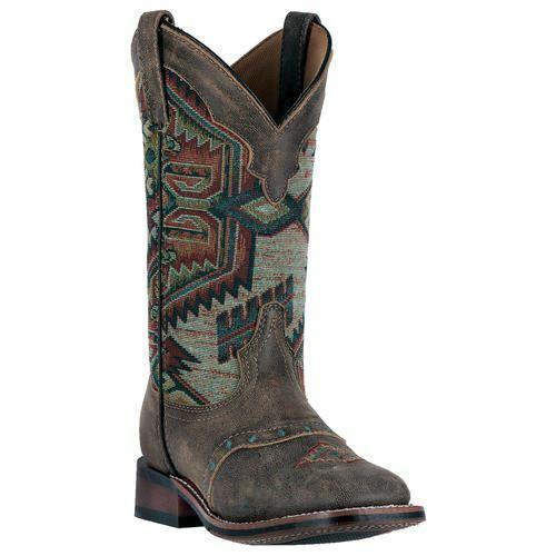 Laroto Damen Scout Western Cowboy Leder Stiefel Braun Multi 5647