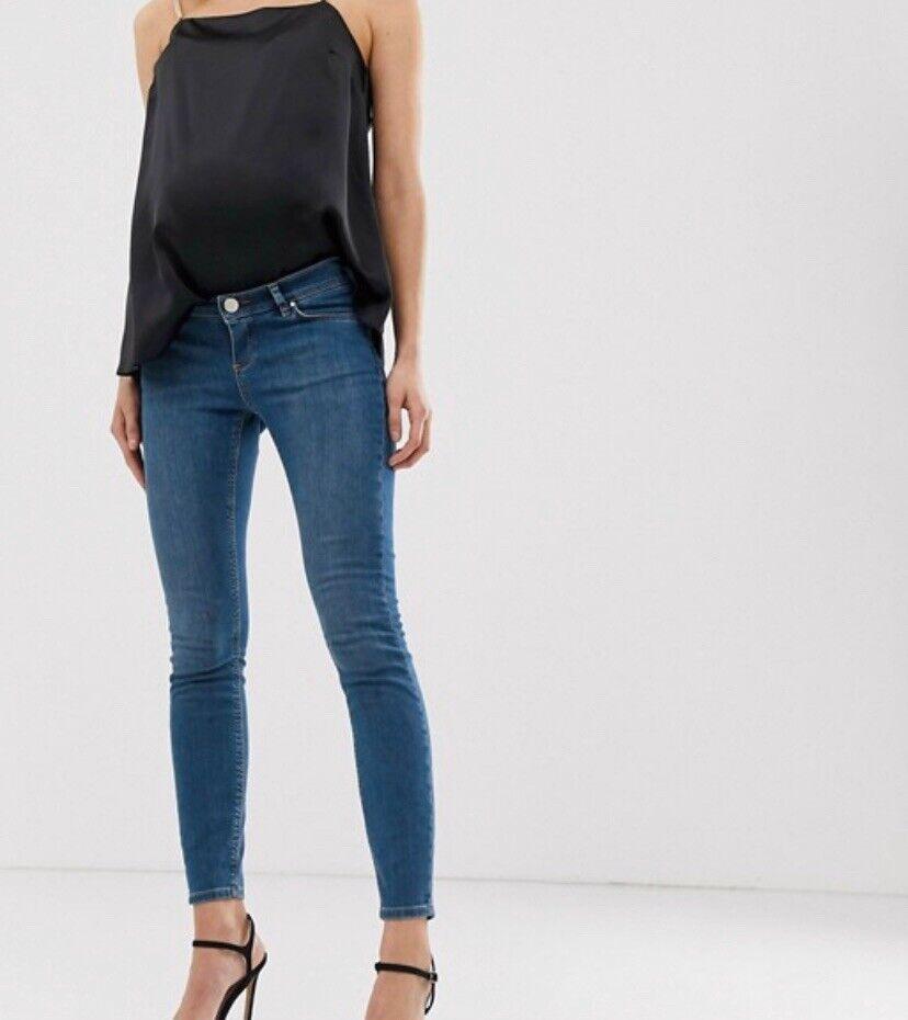 Asos Design Maternité Lisbonne Mid Rise Skinny Jeans Bleu Clair Délavé Uk10