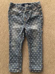 Old-Navy-Toddler-Girl-Skinny-Pull-On-Denim-Jeggings-Jeans-Size-2T-Polka-Dot