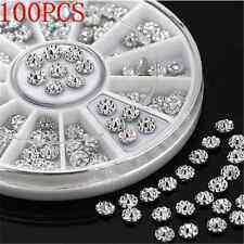 Lots 100PCS 4mm DIY Acrylic Stud Nail Art Stickers Tips Rhinestone Decor Wheel