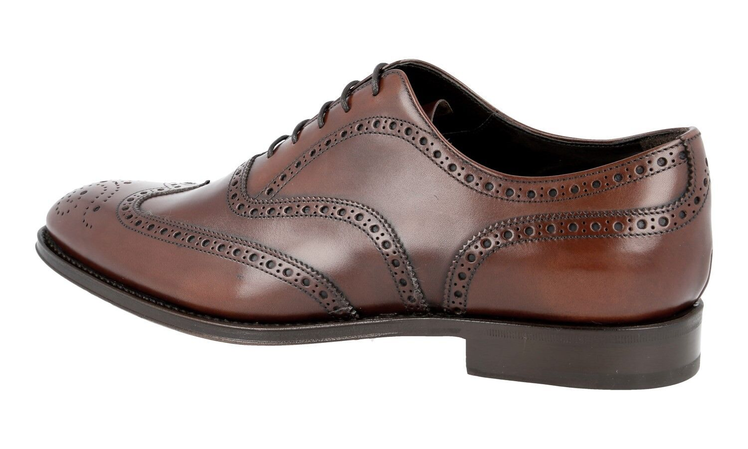 LUXUS LUXUS LUXUS PRADA OXFORD WINGTIP FULL BROGUE SCHUHE 2EB127 BRAUN NEU NEW 9,5 43,5 44 9b7c57