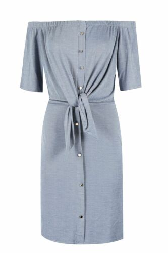 Ladies Off the Shoulder Short Sleeve Womens Buttons Tie Knot Ruched Shirt Dress