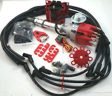 SB Chevy SBC Small Cap H.E.I HEI Distributor Kit W/ Plug Wires & E-Core Coil